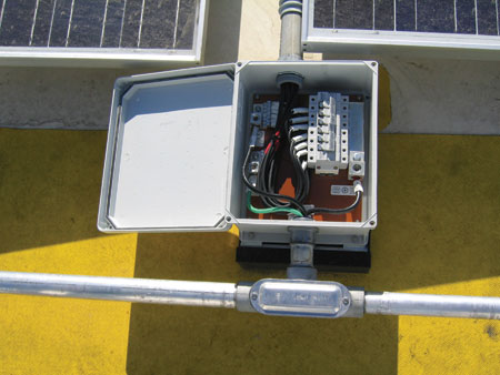 Photo 3. PV source-circuit combiner on large system