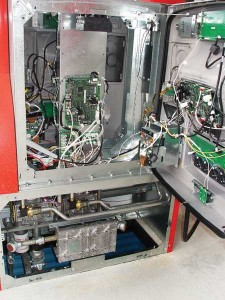 Photo 3. Unlike earlier dispensers, these versions are mostly solenoids, piping, and computer hardware