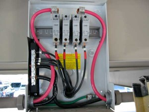 Photo 2. Fused PV combiner with large and small cables