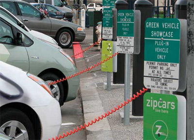 Photo 1. Plug-in vehicle street charging