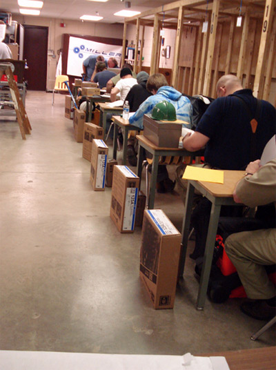 Photo 1. Students Take Written Exam. Each student was required to take a written exam before demonstrating their hands-on skills.