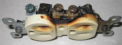Photo 1. High resistance, arcing or glowing connections can eventually lead to ignition. Courtesy of 2D2C, Inc