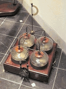 Photo 5. the term battery was once used by ben franklin to describe a set of capacitors that were tied together to use for his experiments with electricity. these capacitors or leyden jars were charged with a static generator and discharged by touching metal to their electrode. linking them together in a