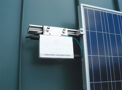 Photo 3. Example of a micro-inverter; these devices put ac on the roof instead of dc.