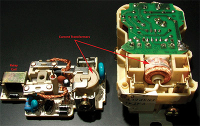 Photo 2. Internal components of GFCI devices