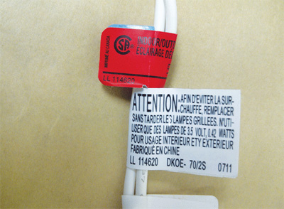 Photo 1. Counterfeit CSA product label