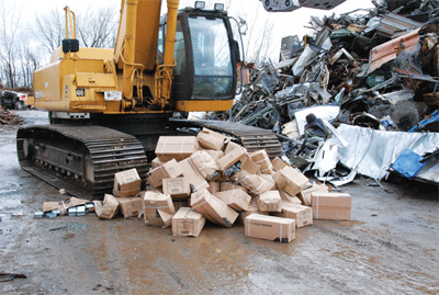 Photo 2. Destruction of counterfeit products