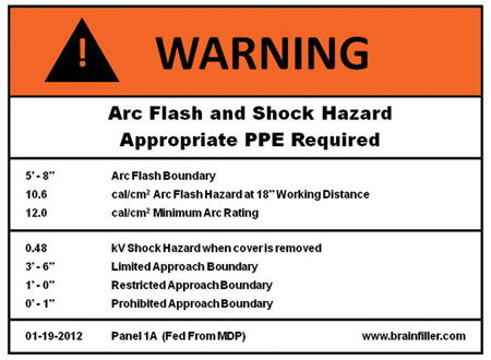 Figure 4. The arc flash warning label contains very important information