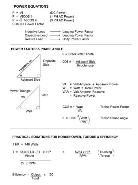Table 1. Power equations for DC, single-phase AC and three-phase AC. It also includes a graphical aid called the power triangle, which utilizes trigonometric identities to help with the analysis of power factor. Finally, some practical equations are included to calculate horsepower, torque, and efficiency.