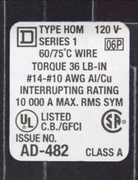 Figure 4. Circuit-breaker GFCI certification label