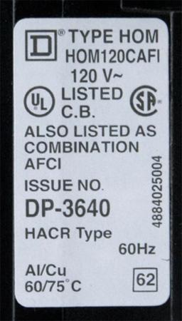 Figure 5. Circuit-breaker AFCI certification label