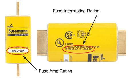 Figure 1. The NEC requires marking of the interrupting rating on a current-limiting fuse per NEC 240.60(C)