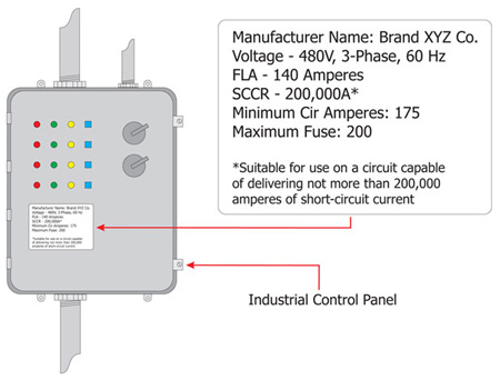 Figure 2. This is an example of marked SCCR on an industrial control panel nameplate