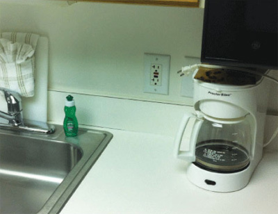 Photo 1. Typical GFCI usage on a kitchen counter