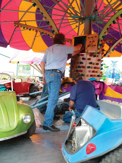 Photo 1. Inspectors check the lighting on a kiddie ride for grounding continuity.