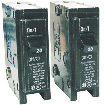 Photo 1. 1-pole thermal magnetic circuit breakers rated 120/240V