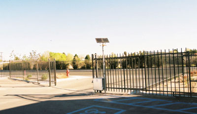 Photo 1. PV-powered electric gate; no trenching required