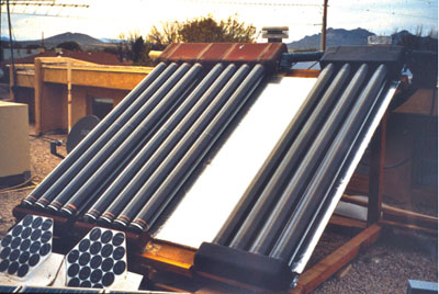 Photo 3. Solar water collector and PV modules connected to the circulating pump