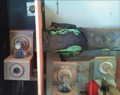 Photo 3. The interior of this meter enclosure depicts damage due to overheating and corrosion. Remember, none of this damage is visible from the outside of the meter enclosure.