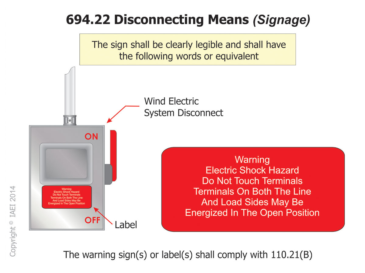 Figure 3: Figure shows the label text requirements for disconnects that may be energized in the open position for wind electric production products.