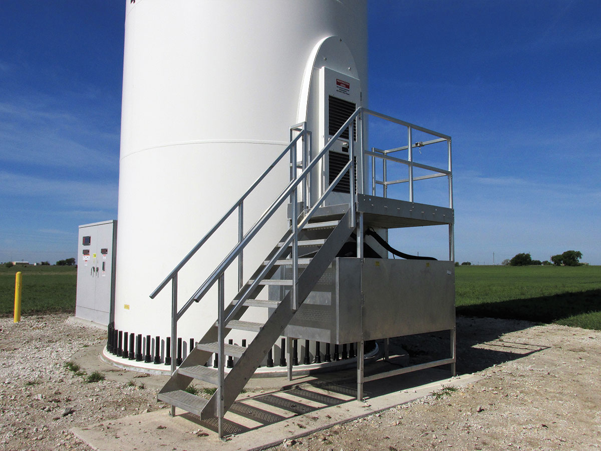 Photo 2: Entrance to a large turbine structure (wind electric production) in the vicinity of Muenster Texas.
