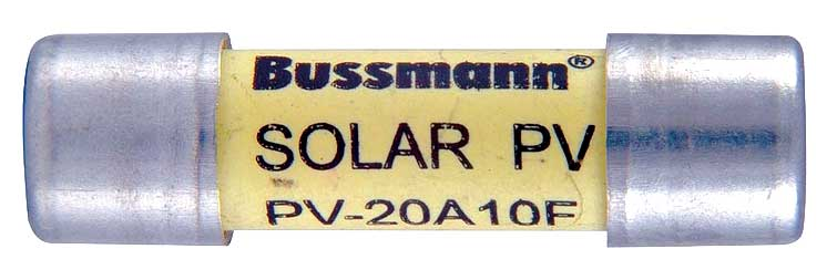 Photo 4. Required DC fuse listed for PV applications. Photo by John Wiles.
